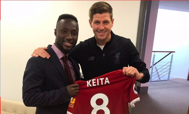 Naby Keita shocked as no.8 given to him by Gerrard in incredible photo