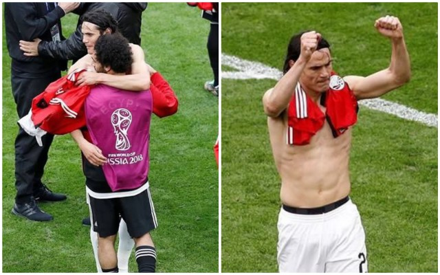 (Pictures) Edinson Cavani asked for Mo Salah's shirt after World Cup clash