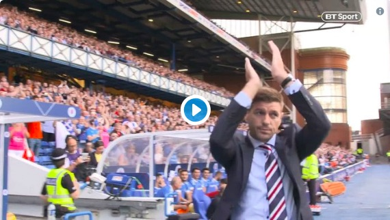 What happened during Gerrard's first competitive game in charge of Rangers