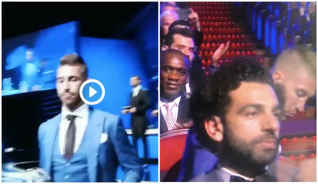 (Video) Salah doesn't appreciate Ramos's shoulder touch at UCL Draw