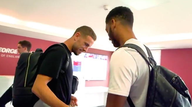 (Video) Hendo winds up 'tight trousers' Gomez on England duty