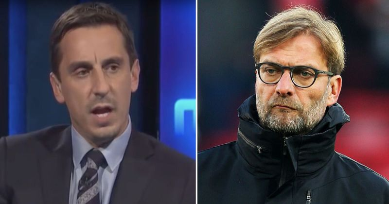 Gary Neville reacts to Klopp shooting him down in press-conference