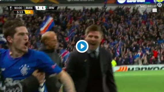 Watch Gerrard go mental as Rangers clinch brilliant European win