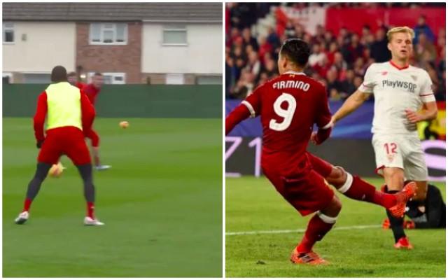 (Video) Sturridge scores 'No Look' training goal