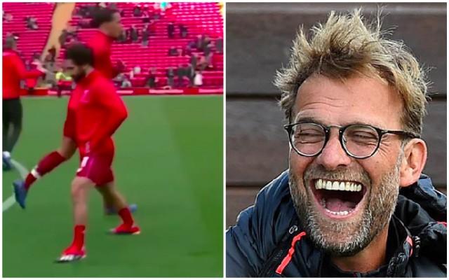 (Video) Van Dijk casually trolled Salah in pre-match warmup 😂