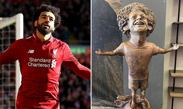 Salah has reacted to the viral statue of his Champions League celebration