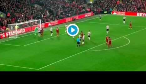 (Video) Watch Fabinho score his first goal for Liverpool after superb Salah assist