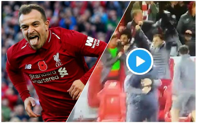 (Video) Stunned Shaqiri excitedly celebrates Origi's late winner