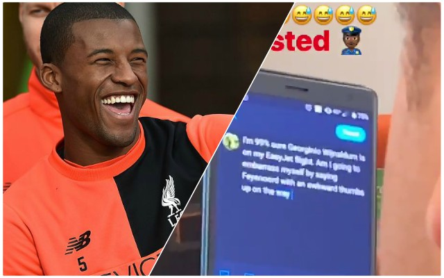 Hilarious: Gini Wijnaldum films fan trying to work out if he's really sat next to him
