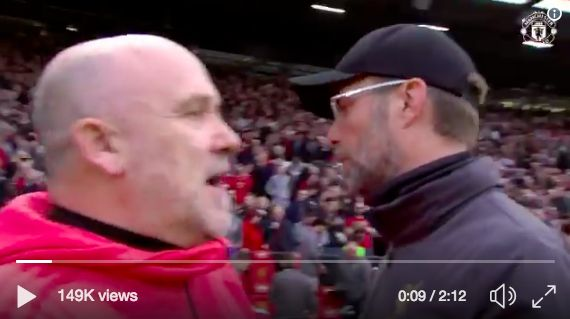 (Video) Can you work out what Mike Phelan said to Klopp on Full Time?