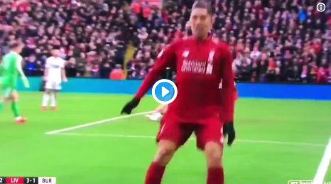 (Video) Firmino debuts another wacky celebration at Anfield