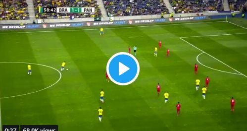 (Video) Sublime Firmino no-look touch puts it on a plate for Brazil team-mate