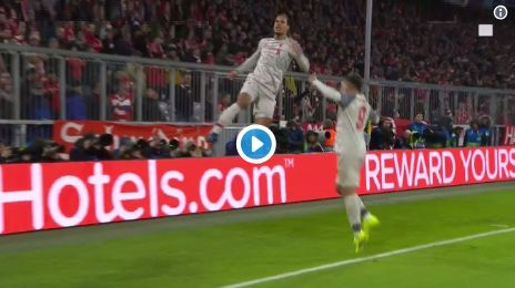 (Video) Virgil van Dijk scores heroic header v Bayern Munich