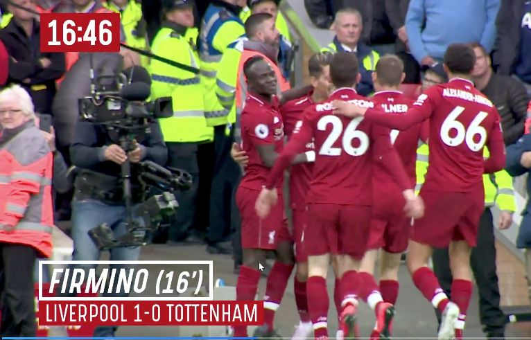 (Video) – New footage shows what Firmino thought of Reds first goal against Spurs
