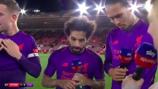 (Video) Ecstatic Salah beams during interview & winds up Hendo after Match Winning goal