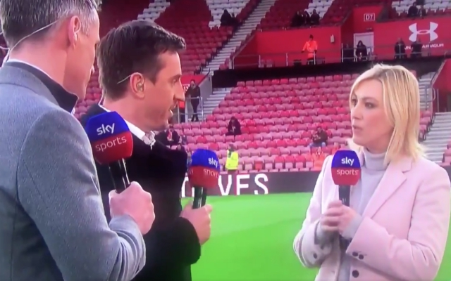 (Video) – Awkward moment Carra and Neville abandon Kelly Cates during live coverage
