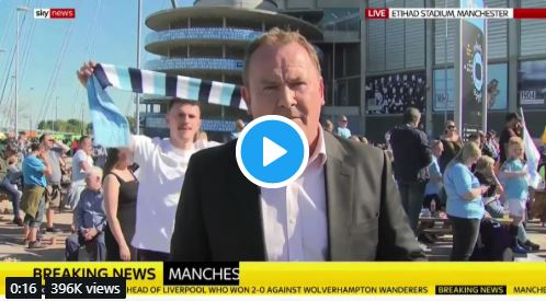 (Video) Classless Man City fan embarrasses himself when he should be celebrating the title