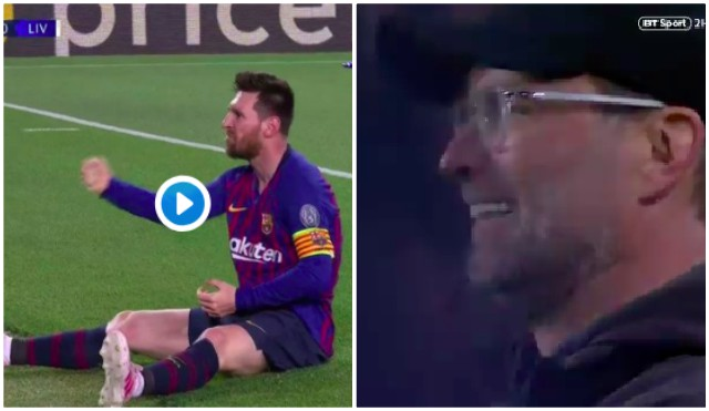(Video) Klopp's reaction to Messi's freekick sums it up for Liverpool on unluckiest of nights