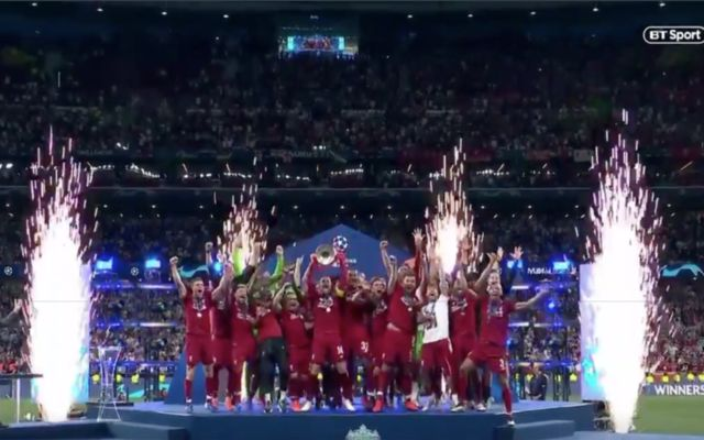 Video: LFC skipper Jordan Henderson lifts Champions League trophy following final win