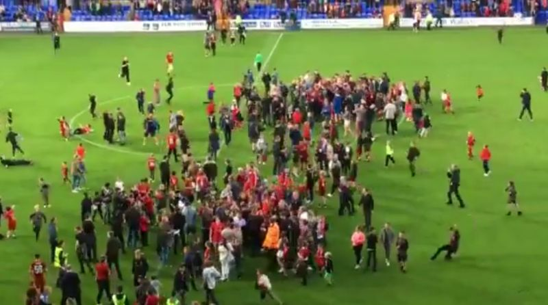 (Video) Fans invade pitch after Liverpool put six past Tranmere