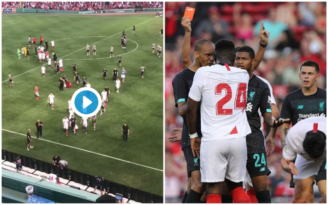 (Video) Reds men including Van Dijk and Hendo confront Sevilla villain at full-time after Larouci horror tackle