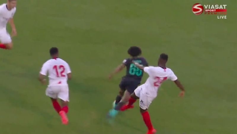(Video) Vile, disgusting tackle on Larouci earns Sevilla red-card in friendly