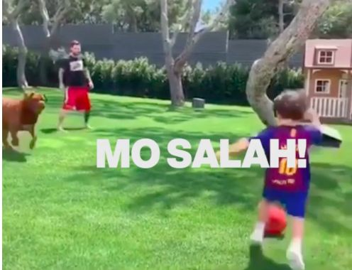 (Video) Messi's kid pretends to be Mo Salah in Argentine's garden