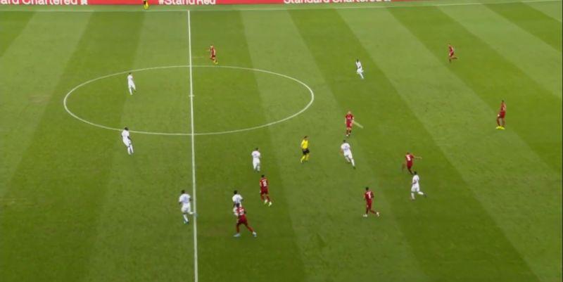 (Video) Fabinho plays exquisite long-range volleyed pass to Elliott v. Lyon