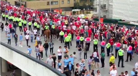 (Video) City fans silent as Reds outnumber and out-sing rivals on Wembley Way