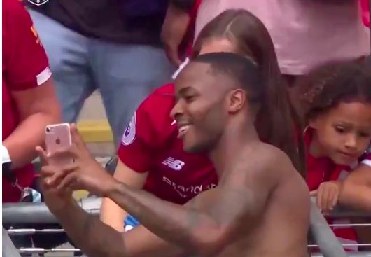 (Video) Sterling hugs Liverpool fans & takes pics at Wembley
