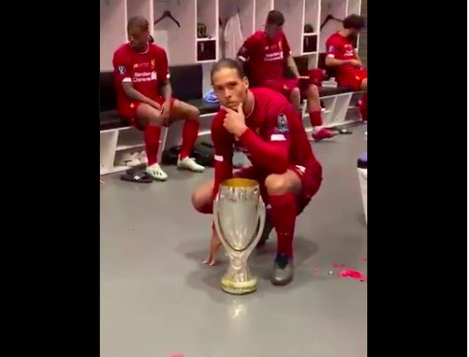 (Video) Van Dijk strikes a pose with Super Cup and it's everything