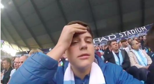 (Video) Man City fan films himself during Gabriel Jesus 'winner' & it's hilarious