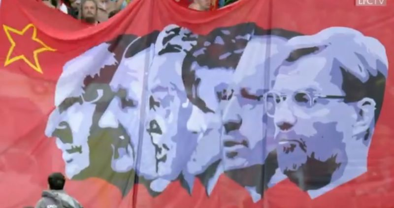 (Video) Legendary LFC flag updated to include Jurgen Klopp mural