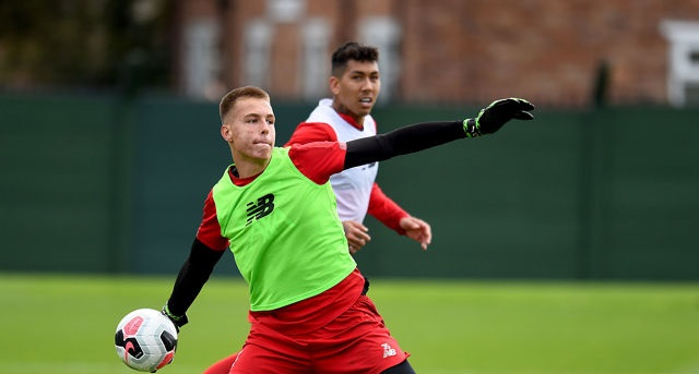 Teenage goalkeeper Jakub Ojrzynski training with Liverpool's first team