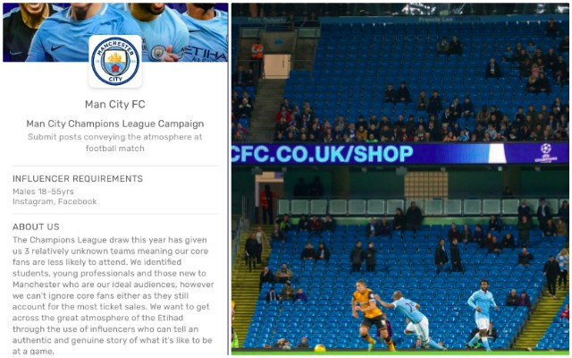 Embarrassing: Man City pay 'influencers' to pretend Etihad has a good atmosphere