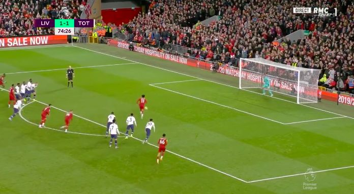 (Video) Mo Salah's drilled penalty puts Liverpool 2-1 up v Spurs