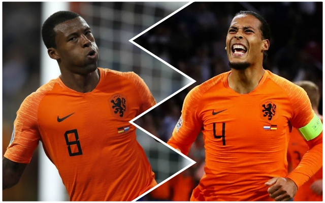 Fans urge Wijnaldum and Van Dijk to recreate hilarious Netherlands celebration for the Reds at Man United next week