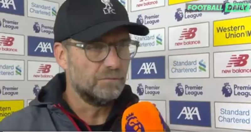 (Video) Klopp's fury easy to see in post-match interview; answers questions angrily
