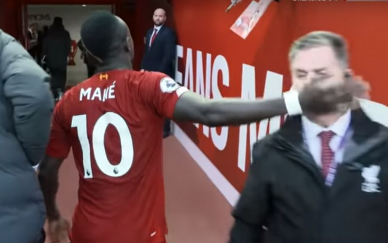 (Video) Sadio Mane accidentally slaps a man in the face