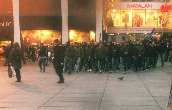 (Photo) Napoli fans walk around Liverpool City Centre with 'golf clubs'