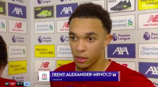 (Video) Trent tells reporter it hits Bernardo's arm first when asked about penalty shout