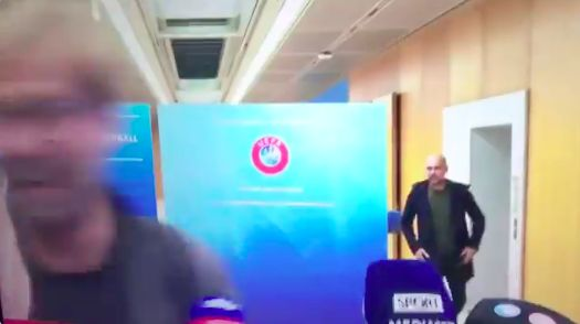 (Video) 'Pep Guardiola is coming…' Klopp pretends to run away from City boss in hilarious interview
