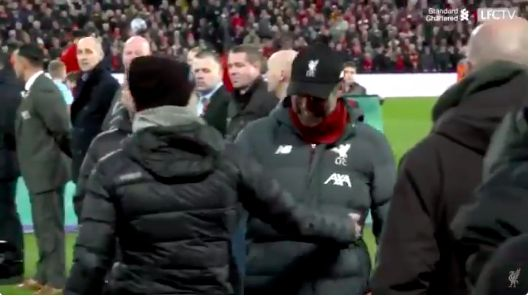 (Video) Klopp teases Pep before kick-off on Sunday; but unclear what is said