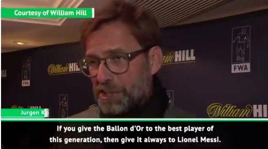 (Video) Klopp gives opinion on van Dijk/Messi Ballon d'Or debate