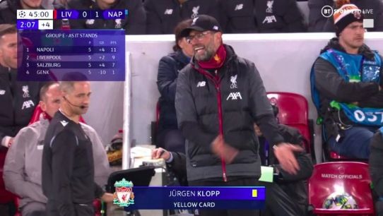 (Video) Jurgen Klopp booked for angry reaction to awful, awful referee