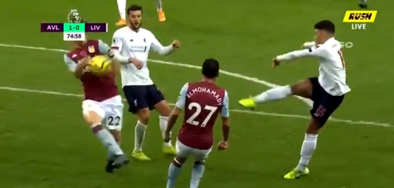 (Video) Villa hand actually shoots back after contact but Atkinson in VAR room denies Reds again