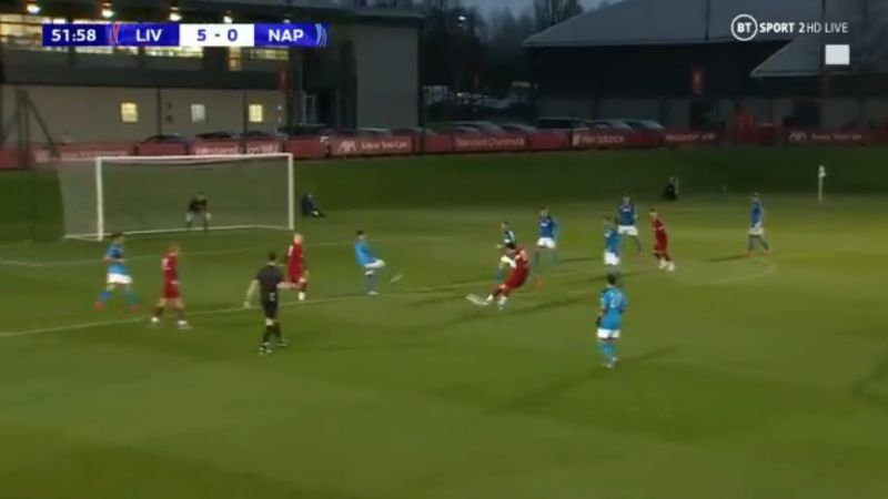 (Video) Curtis Jones nets screamer to put LFC 6-0 up against Napoli & secure hat-trick