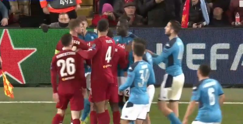 (Video) Napoli start on-pitch scuffle at Anfield that sees ref get pushed