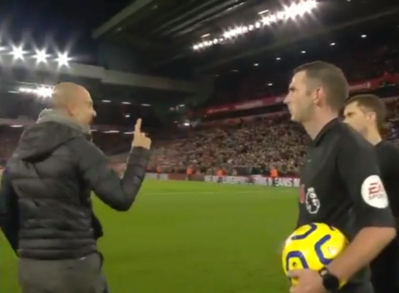 (Video) Bitter Pep sarcastically congratulates LFC players and thanks the referee