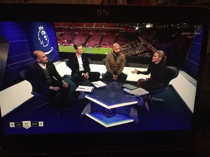 Peter Crouch ruins Everton with accidental one-liner that sees Amazon Prime studio in creases